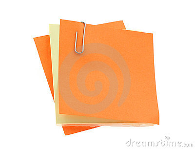 Blank notes with a paperclip on pure white backgro
