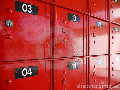 Post Office: red mailboxes detail