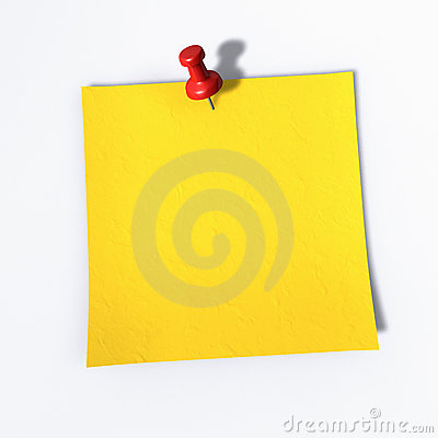 Post it, a red tack on a memo note