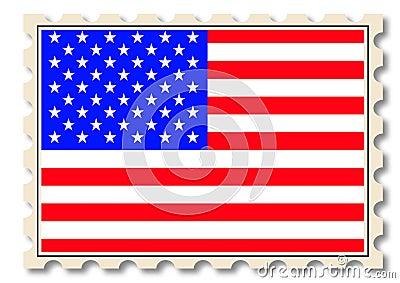 Post stamp with USA national flag