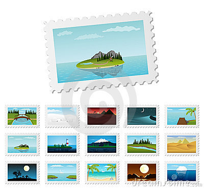 Post stamps with detailed nature landscapes