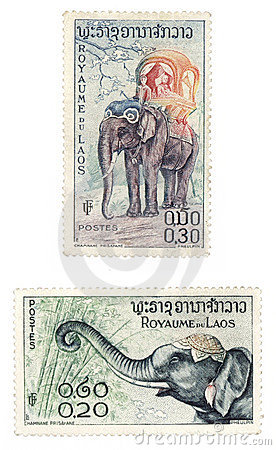 Post stamps with elephants from Laos