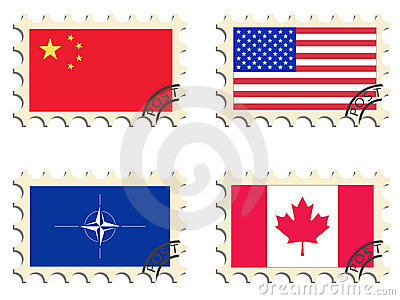 The post stamps. Flags