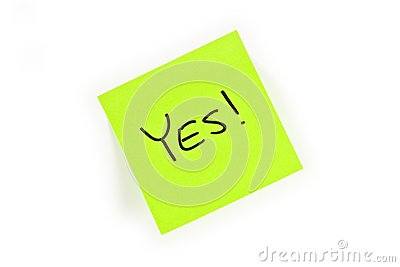 Post-it with YES! written on it