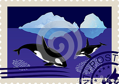 Postage stamp with killer whales