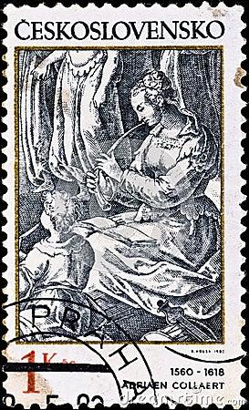 Postage stamp shows engraving of Adriaen Collaert