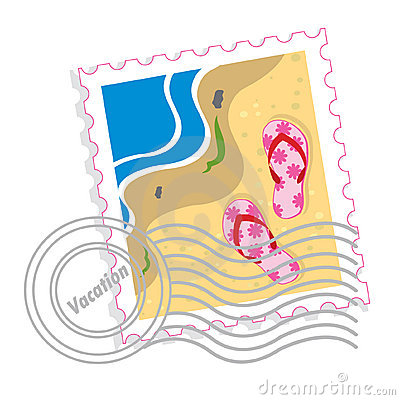 Free Postage Stamp With Pink Slippers Royalty Free Stock Photography - 10845047