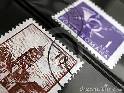 Postage stamps in album