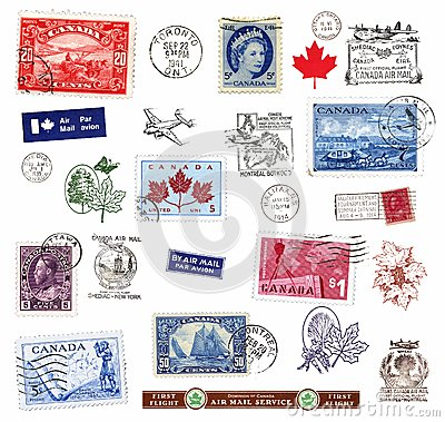 Free Postage Stamps And Labels From Canada Stock Photo - 25307310