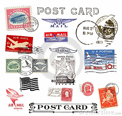 Postage stamps and labels from US