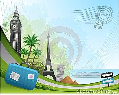 Postal card travel background