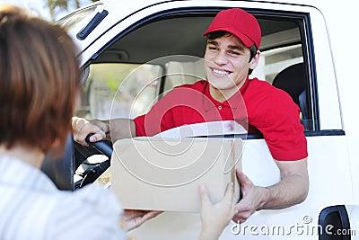 Postal delivery courier delivering