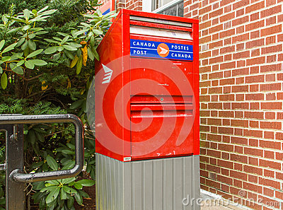 Postal Drop Box in Canada Editorial Stock Photo