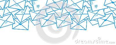 Postal letters envelopes line art horizontal