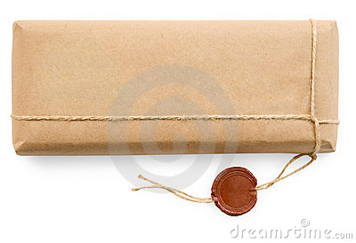 Postal parcel in coarse paper on white background