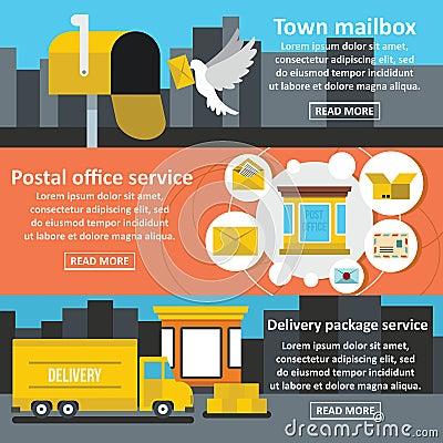 Postal service banner horizontal set, flat style Vector Illustration