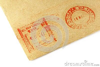 Postal sign on an envelope