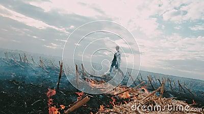 Postapocalypse Menina no campo chamuscado Em torno do fogo e do fumo video estoque