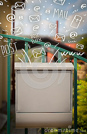 Free Postbox With White Hand Drawn Mail Icons Stock Images - 34795894