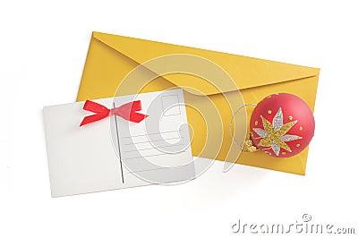 Postcard and christmas ball