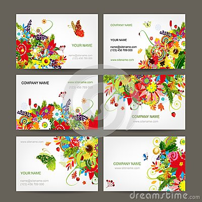 Postcard collection with floral bouquet for your