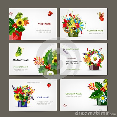 Postcard collection with floral pots for your