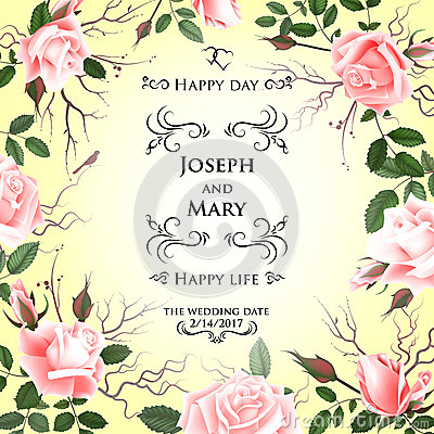 Postcard with delicate flowers roses wedding invitation thank you postcard with delicate flowers roses wedding invitation thank you save the date cards menu flyer banner template vector illustration maxwellsz