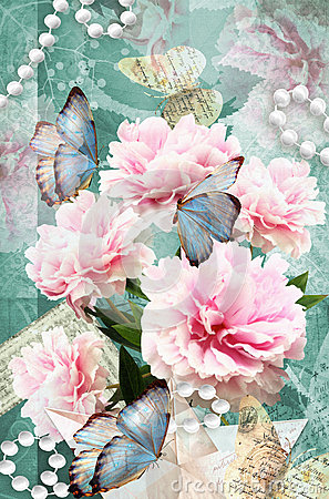 Free Postcard Flower. Congratulations Card With Peonies, Butterflies And Pearls. Beautiful Spring Pink Flower. Stock Image - 67707101