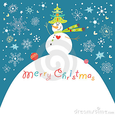 Postcard funny snowman