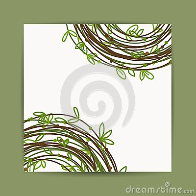 Postcard with green leaf decoration for your