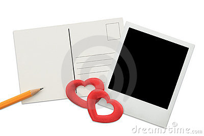 Postcard, Instant Photo Frame And Red Hearts Stock Images - Image: 7324664