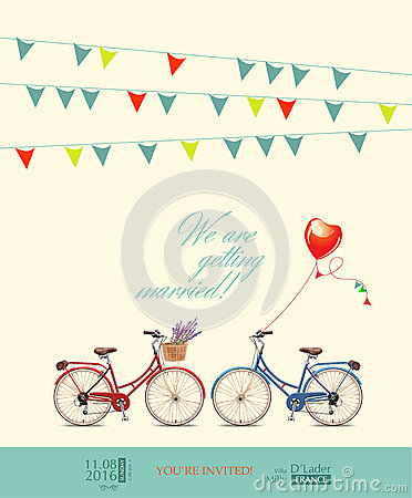 Free Postcard Invitation To The Wedding. Red And Blue Bikes For The Bride And Groom. Colorful Pins. Balloon In The Shape Of Heart. Vect Stock Images - 44221404