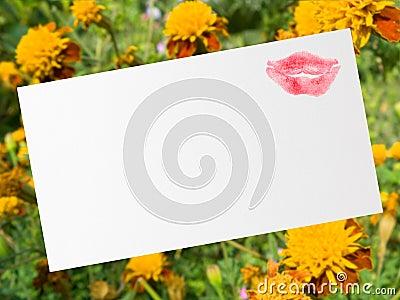 Postcard with kiss