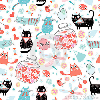 Postcard kittens with a jar of of love
