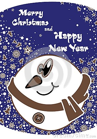 Postcard for Merry Christmas and New Year