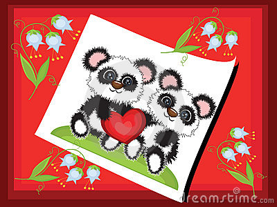 Postcard with pandas