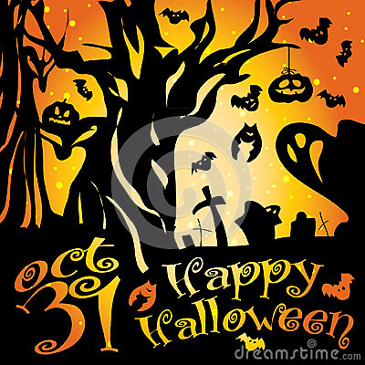 Postcard, poster, background, happy halloween