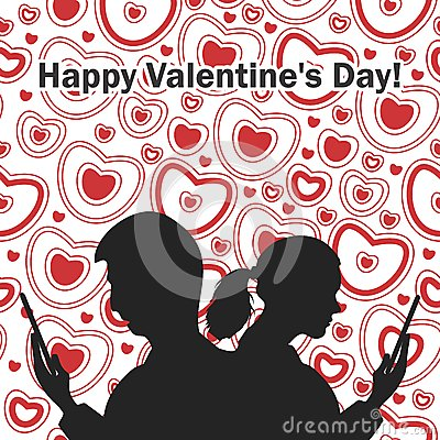 Postcard Valentine Vector Illustration