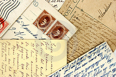 Postcards and arabic stamps