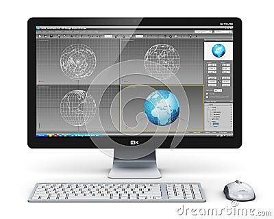poste de travail professionnel d 39 ordinateur de bureau illustration stock image 45988847. Black Bedroom Furniture Sets. Home Design Ideas