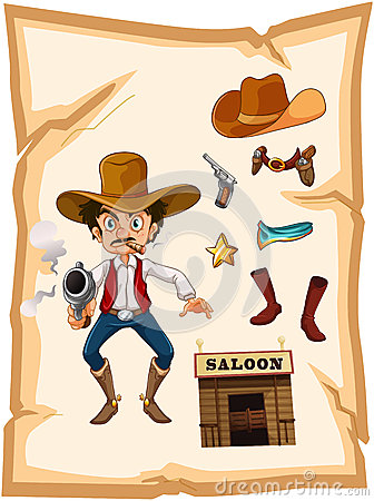 A poster with an armed old cowboy and a saloon bar
