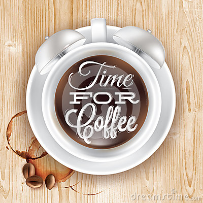 Free Poster Cup Kofem Alarm Clock In Loft Wood Royalty Free Stock Photography - 41462947