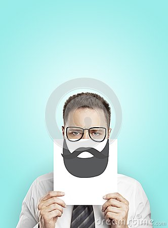 Poster with drawing beard