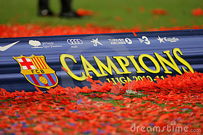 Poster of FC Barcelona league championship Editorial Stock Photo