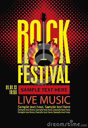 Free Poster For A Rock Festival With Guitar On Fire Royalty Free Stock Image - 97088796