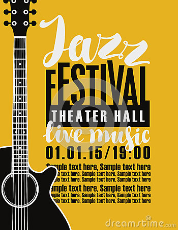 Free Poster For Jazz Festival With A Guitar Royalty Free Stock Photo - 88432155