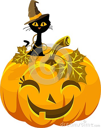 Free Poster Funny Pumpkin And Cat In The Hat. Halloween Royalty Free Stock Photography - 58513047