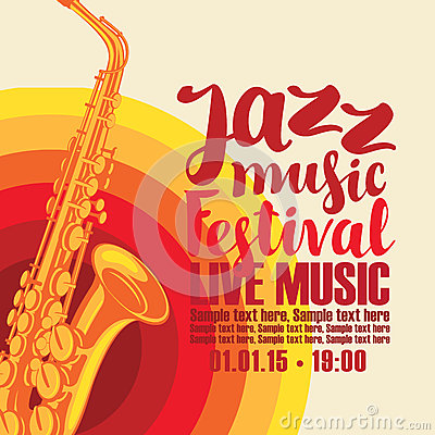 Poster for jazz festival live music with saxophone Vector Illustration