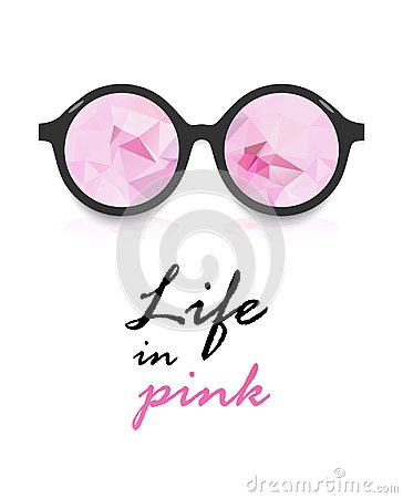 Free Poster `life In Pink` Pink Glasses And Inscription On White Background Royalty Free Stock Image - 103913986