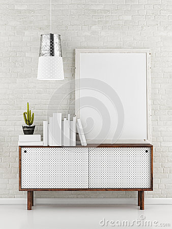 Free Poster Mock Up, White Brick Background, 3d Illustration Royalty Free Stock Photos - 54127778